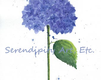 "Blue Hydrangea - 9"" x 12"" Original Watercolor"