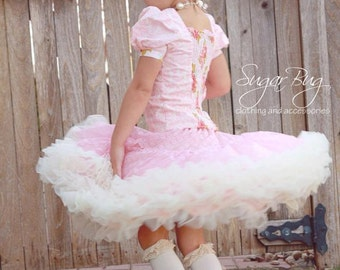 "LULU - ruffled pettiskirt skirt for girls & 46 cm (18"") doll, PDF sewing pattern - INSTANT download"