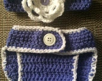 Headband and matching Diaper Cover 2 Pc Set,Crochet Baby Photo Prop,Baby, Newborn,Purple Diaper set, Hairband and Diaper Set,Purple Baby Set