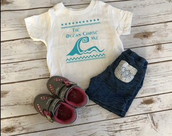 The ocean chose me moana inspired disney quote infant toddler kids cotton shirt