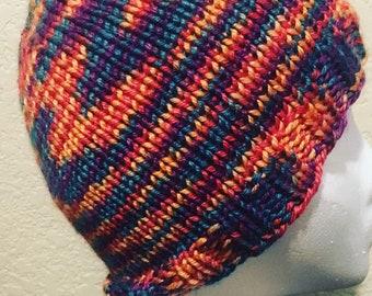 Small Zig-Zag Rainbow Hat