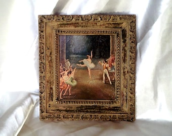 "Framed Mid Century Turner 'Wall Accesory' Ballet Dancers Print on Textured Board in Vibrant Pastel Colors - 9"" x 10"""