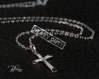 White Gold Cross Necklace 14K Gold Extra Srong Gold Chain with Cross Pendant Mens Cross White Gold Necklace Durable Gold Cross Necklace
