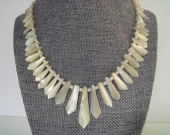 Art Deco Necklace, MOP Necklace, Vintage Mother of Pearl Necklace, MOP Shard Necklace, Mop Bib Necklace, Shard Necklace, Art Deco MOP