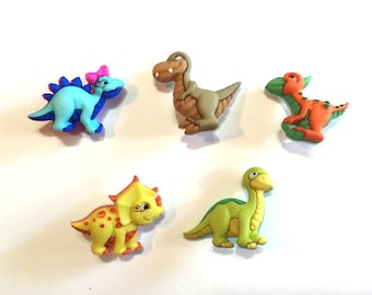 Dinosaur Buttons Collection Set of 5 Assorted Toys Jesse James Buttons Dino-Mite Dress It Up Buttons Shank Back - 97