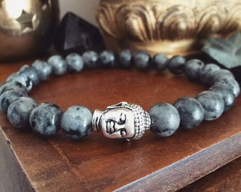 Mens Buddha Bracelet - Mens Bracelet with Larvikite Beads and Silver Plated Buddha Head, Norwegian Stone,  Mens Wrist Mala for Intuition