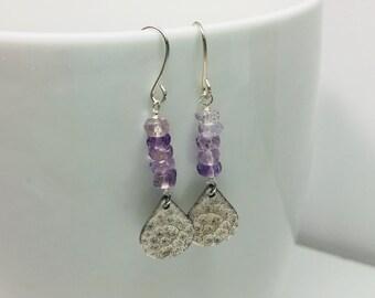 Ametrine Hammered Silver Drop Earrings, Ametrine Gemstones, Hammered Silver, Silver Earrings, Silver Jewelry, Women, Jewelry, Drop Earrings
