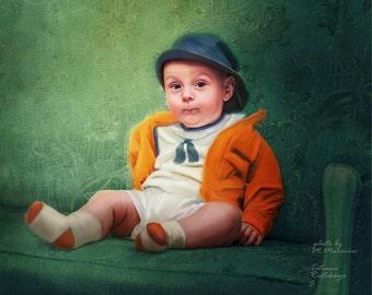 Digital portrait, Baby Portrait,  Custom Portrait,  Digital Painting From Photo, Hand painted, Custom child portrait,  Portrait from photo