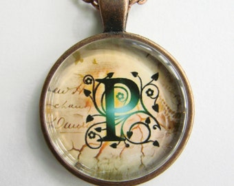 """Initial """"P"""" Necklace -- Green Vine pattern Personalized Letter P Necklace, Wedding Necklace, for Bridesmaid, Hen Night, Friendship token"""