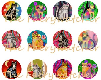 One Inch Funky Cat Pins, Modern Cat Magnets, Colorful Cat Pins, Hip Cat Flatbacks, Funky Cat Magnets