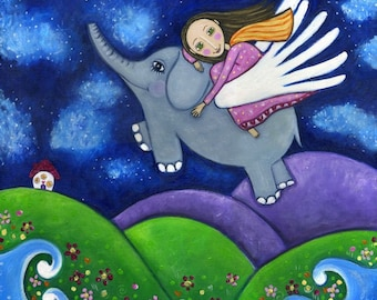 Flying Elephant print folk art painting Nursery Childrens girl wall decor Whimsical folk picture - 'Stargazers'