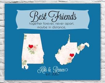 Christmas Best Friend Gift, Birthday, Just Because, Long Distance Friendship Map Print, Going Away, Far Away Friend Present Hanukkah Gift