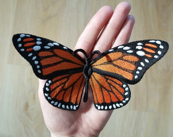 Embroidered Butterfly decors, Set of 3 Monarch Butterflies, Realistic Butterflies, Butterfly FSL, Orange Butterfly, baby crib decor