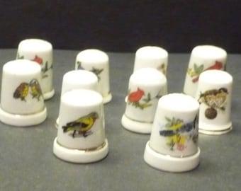 10 Bird Decor Sewing Thimbles-