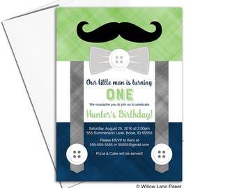 First birthday invitation boy, boys birthday party invitations, mustache birthday invitation, printable printed, navy green gray - WLP00366
