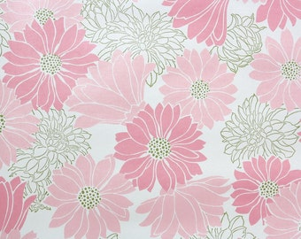 Retro Wallpaper by the Yard 70s Vintage Wallpaper - 1970s Pink and Gray Daisy