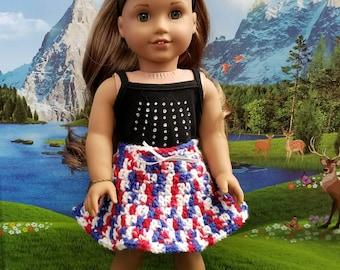 Patriotic - Red, White & Blue - Crocheted SKIRT for 18in dolls like American Girl