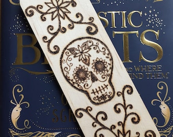 Sugar Skull Wooden Bookmark, Pyrography, Woodburned, Handburned, Book Lovers Gift, Readers Gift, Day of the Dead, Bookworm