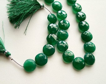 20 Inch Green Onyx Faceted Coins, 14-16mm Green Onyx Coin Beads, Emerald Green Onyx, Original Onyx Necklace - AS4091