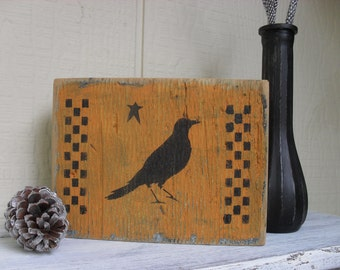 Rustic Country Primitive Crow Reclaimed Cedar Wood Block Folk Art Farmhouse Halloween Shelf Sitter Gothic Decor Americana