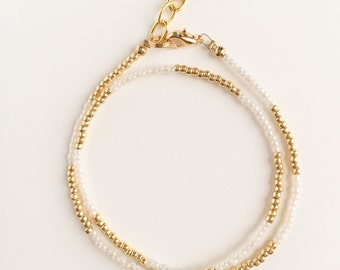 Cream & Gold Wrap Bracelet