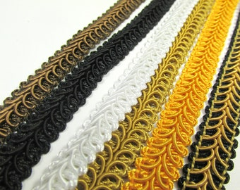 Brown, Black, White, Antique Gold, Sunflower Yellow, or Black and Gold  1/2 inch Raised Heavy Gimp Decorator or Upholstery Trim