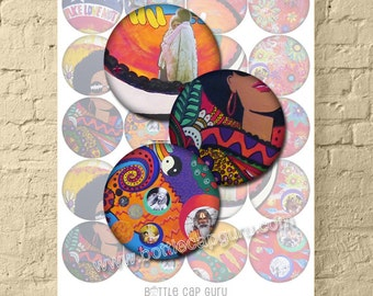 WOODSTOCK  FESTIVAL 1969 / 2 Inch Circle Digital Collage Sheet / Peace Love Music Hippie Art for Crafts / Printable Vintage Images Download