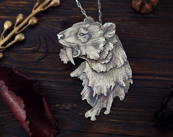 Tiger silver necklace, saber tooth, exotic animal, wild cat jewelry, sterling silver pendant necklace for woman, silversmith jewelry, boho