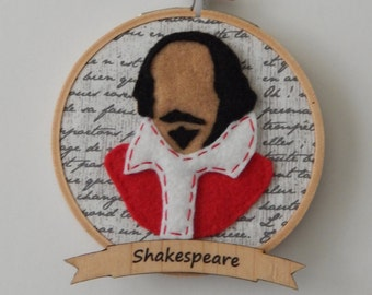 "4"" Shakespeare Embroidery Hoop Ornament"