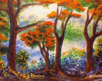 Original watercolor.  Landscape.