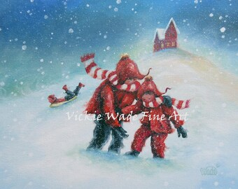 Snow Children Art Print, two children, three children, sledding, two kids Christmas red painting, snow children, Vickie Wade Paintings