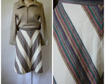 1970s Chevron Skirt / Vintage Day Skirt / Neutral Tones Skirt / Vintage 70s Secretaries Skirt / Vintage 1970s Chevron Modest Day Skirt S/M