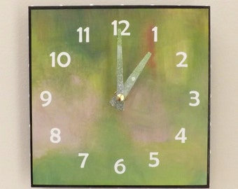 Green Clock, House Clock, Contemporary Clock, Functional Art, Modern Clock, Lavender ,Wall Clock, Handmade
