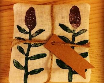 Handmade & hand printed linen lavender bag. Handmade gift, lavender sachet, printed linen