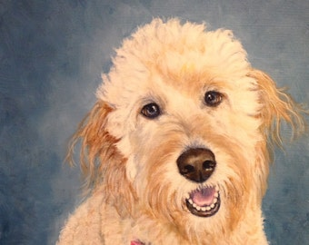 8x10 Labradoodle Giclee Print dog animal art by RSalcedo FFAW Free Shipping