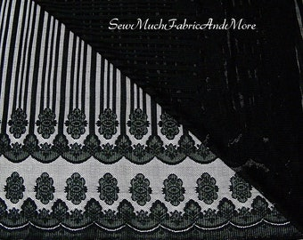 "Black Double-border black stretch lace fabric-By the yard-58"" wide-swag & stripe design"