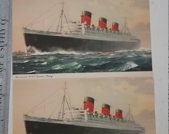 Post card Queen Mary lot of 2 blank