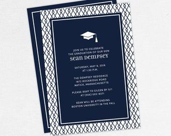 Graduation Invitation, Graduation Announcement, Printable Invite, Invitation PDF, DIY Graduation, Printed Invites, Modern, Boy, Shawn, Navy