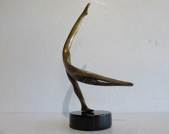 Bob Bennent Mid-Century Modern Bronze Abstract Sculpture 95/250 1981