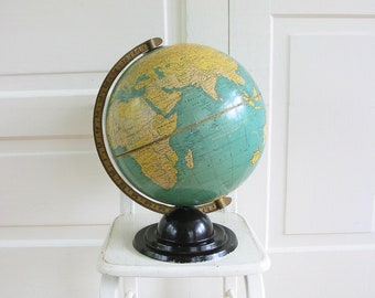 Vintage Large 12 inch Cram's Globe, Crams World School Globe, Office Decor, Man Cave, Home School, Industrial Decor,