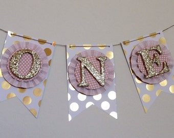 Gold & Blush Pink High Chair Cake Smash Banner. ONE Banner. Age Banner. First Birthday Decorations. Birthday Banner. ONE Photo Prop.