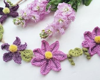 Purple Clematis Flower Garland, Purple Flower Garland, Purple Garland, Purple Flower Decor, Rustic Flower Garland, Purple table Decor