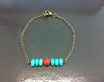 Genuine brass with turquoise and Red Jasper bracelet