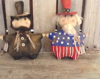 Primitive Grungy Uncle Sam Abe Lincoln doll Pattern