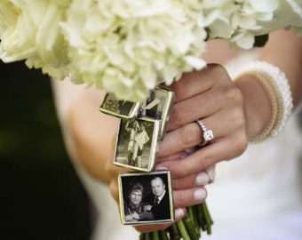 CUSTOM made Wedding Bouquet Photo Pendant Charm to hang on Brides Bouquet  - Great Gift for wedding Bridal Shower