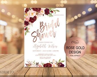 Marsala Rose Gold Bridal Shower Invitation Printable Template, Wedding Shower Invite, Editable DIY PDF Instant Download | VRD130BSRR
