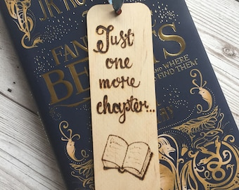 Wooden Bookmark, Pyrography, Woodburned, Handburned, Quote, Just one more chapter, Book Gift, Readers Gift, Bookworm Gift, Booklover