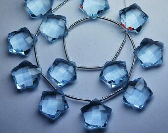 5 Matched pairs,AQUAMARINE BLUE Quartz Faceted Star Shape Briolette,Size12mm Approx