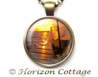 Sunset Cocktail at the Beach, Ocean Art, Anniversary Toast, Birthday Toast, Special Occasion, Beach Lover Gift, Your Choice of Finish