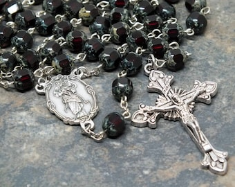 Czech Glass Rosary in Garnet with Picasso Accents; Untier of Knots; Undoer of Knots; January Rosary; Marian Rosary; 5 Decade Rosary